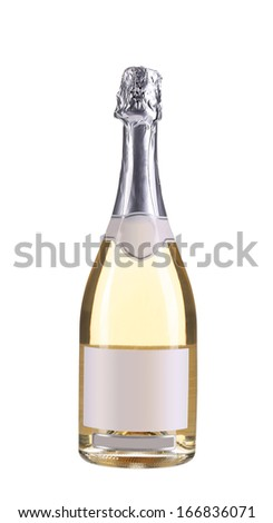 Botlle of pink champagne. Isolated on a white background.