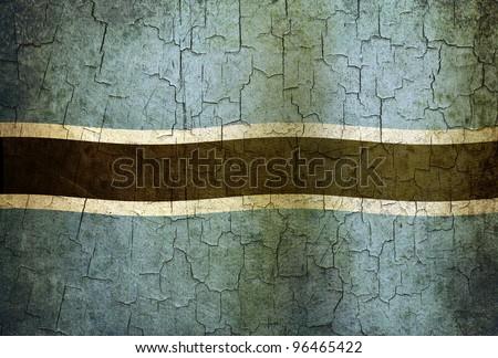 Botswana flag on a cracked grunge background - stock photo