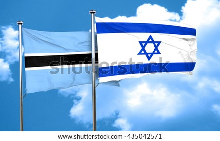 Botswana flag with Israel flag, 3D rendering