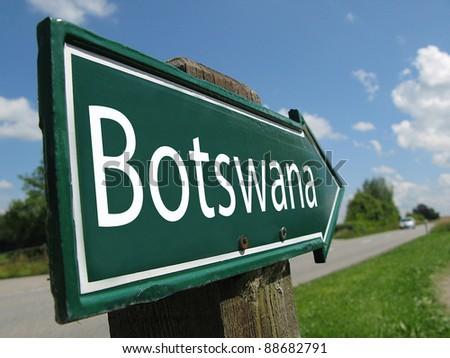 BOTSWANA signpost along a rural road - stock photo