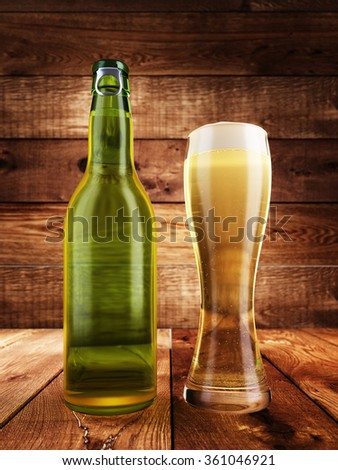 Bottle and a glass of light beer. 3D render. - stock photo