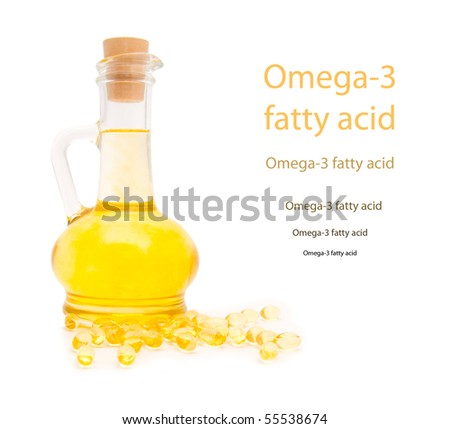 Bottle and gelatinous capsules with the cod-liver oil-omega3 - stock photo