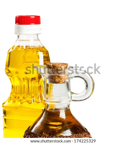 bottle and glass cruet for oil isolated on white background - stock photo