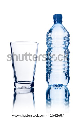 bottle and glass isolated - stock photo