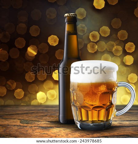 Bottle and Glass of Cold Beer - stock photo