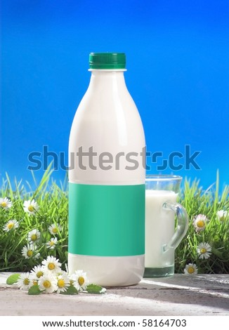 bottle and glass of milk with blank label outside, grass and flovers - stock photo