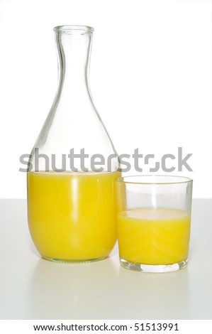 Bottle and glass of orange juice in studio
