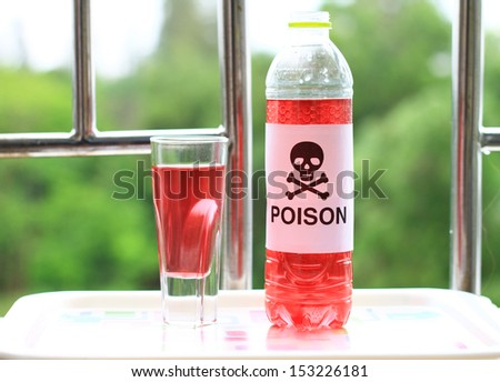 Bottle and glass of Red poison on plate, red chemical liquid - stock photo