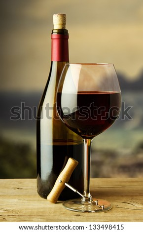 bottle and glass of red wine - stock photo