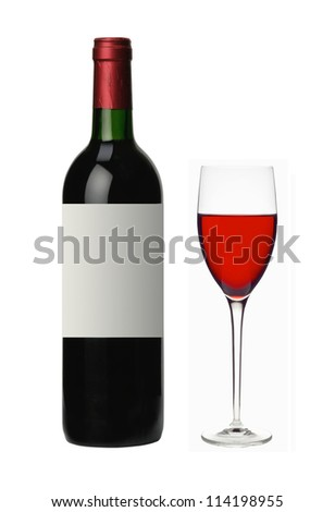 bottle and glass of red wine isolated on white background - stock photo