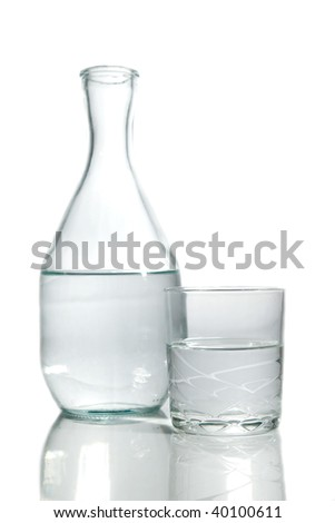 Bottle and glass of water on white background