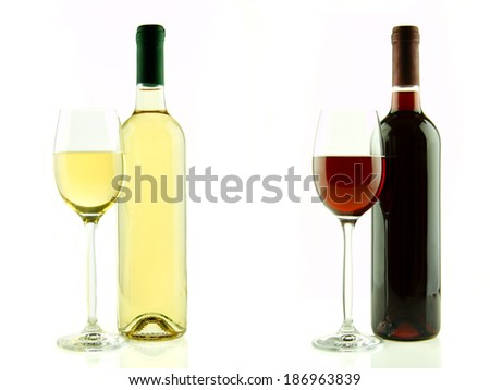 Bottle and glass of white and red wine isolated - stock photo