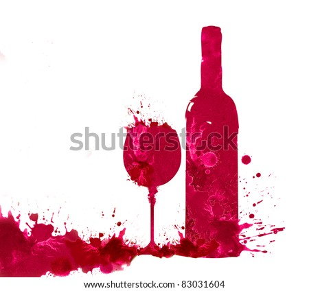 Bottle and glass of wine in watercolor technique on a white background - stock photo