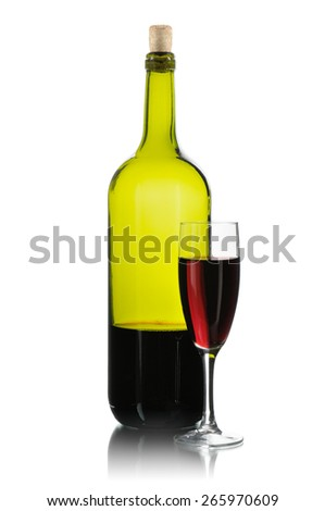 bottle and glass of wine isolated on white - stock photo