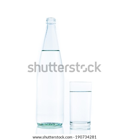 Bottle and Glass water clear isolate on over white background - stock photo