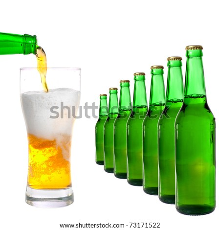 bottle and glass with beer on white background - stock photo