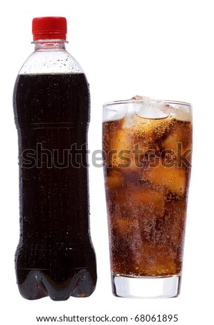 bottle and glass with cola on white background - stock photo