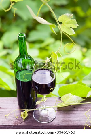 bottle and glass with red wine.