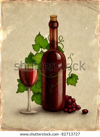 Bottle and glass with wine - stock photo