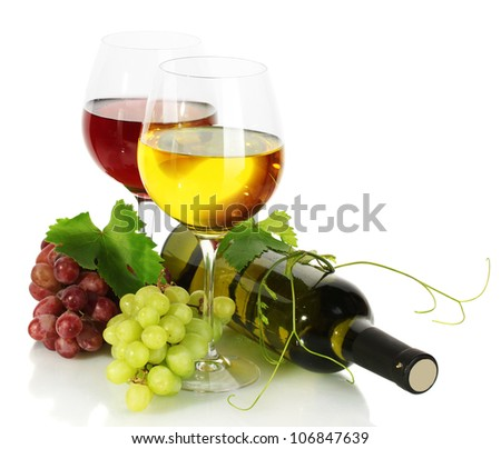 bottle and glasses of wine and ripe grapes isolated on white - stock photo