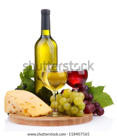 bottle and glasses of wine, assortment of grapes and cheese isolated on white - stock photo