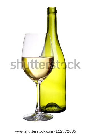 Bottle and wineglass. Concept and idea - stock photo