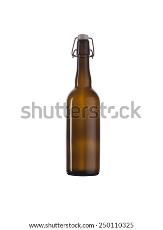 Bottle brown from under beer on a white background. - stock photo
