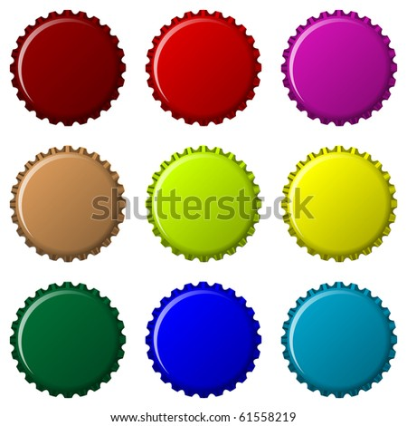 bottle caps in colors isolated on white background, abstract art illustration; for vector format please visit my gallery