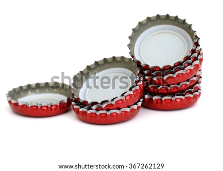 Bottle caps isolated on white - stock photo