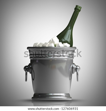 Bottle champagne in a bucket with ice. High resolution 3d render