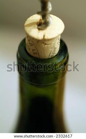 bottle, corkscrew - stock photo