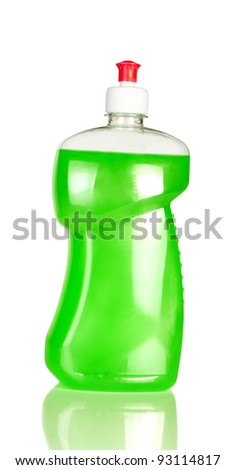Bottle dishwashing liquid isolated on a white
