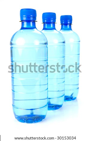 Bottle drinking water isolated against a white background
