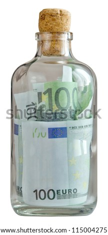 bottle filled with euro and capped