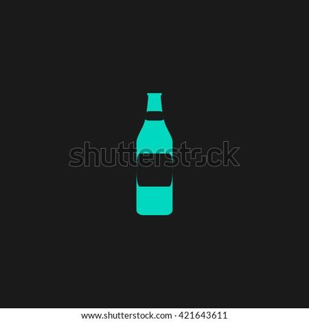 Bottle Flat icon on black background. Simple symbol - stock photo