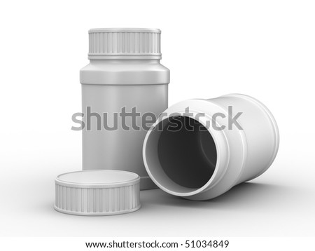 Bottle for tablets on white background. Isolated 3D image - stock photo