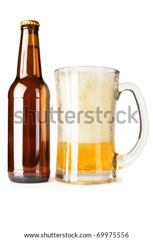 Bottle full of beer and mug with fresh beer and foam on white background - stock photo