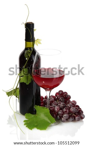 bottle, glass of wine and ripe grapes isolated on white - stock photo
