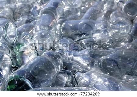 bottle glass recycle mound pattern background - stock photo