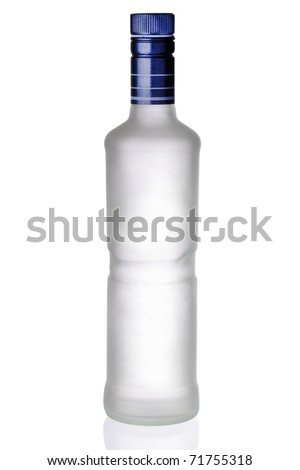bottle iced of vodka isolated on white background - stock photo