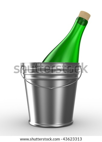 Bottle in bucket on white background. Isolated 3D image - stock photo