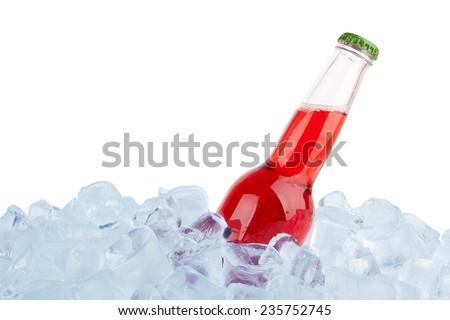 bottle in ice isolated on white background  - stock photo