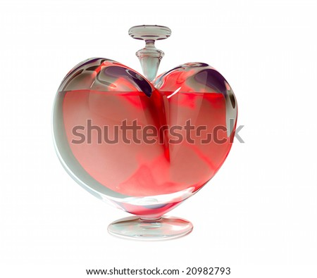 Bottle in the form of heart. Computer 3D model. 02 - stock photo