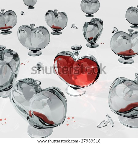 Bottle in the form of heart. Computer 3D model. - stock photo