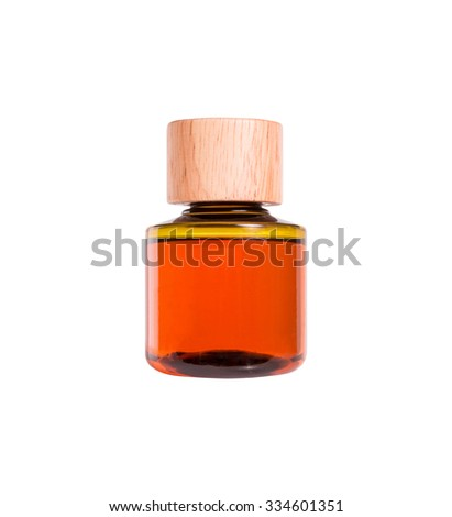 Bottle in white background, equipment in bath room used in hotel, isolated. Orange color.