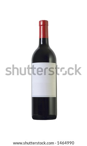 Bottle of a red wine with blank label . Isolated over white