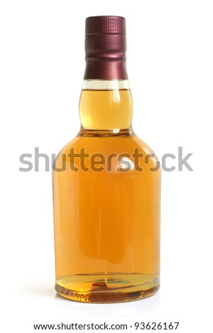 Bottle of alcoholic drink on a white background - stock photo