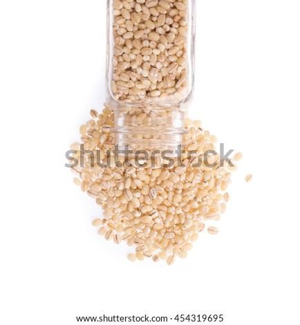 bottle of Barley rice isolated on white background - stock photo