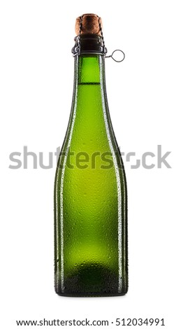 Bottle of beer, cider or champagne isolated on white background