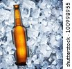 Bottle of beer is in ice - stock photo